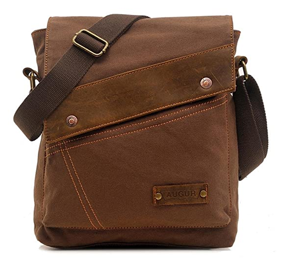 Vere Gloria Men Women Small Canvas Messenger Bag Crossbody Shoulder Handbags Ipad Laptop Bag for School Travel Hiking and Everyday Use (Brown)