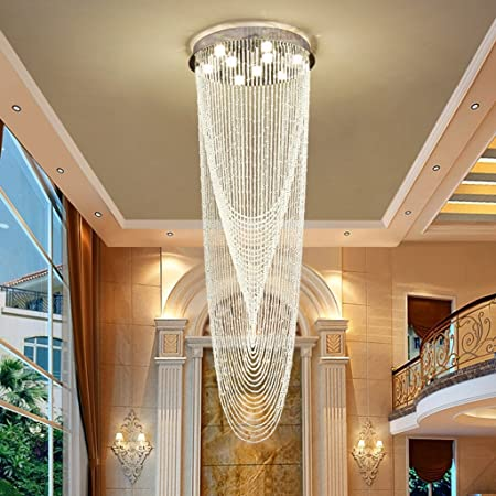 iluminación Lámparas de Cristal, Villa Duplex Escalera Moderna Big Long Chandelier las luces interiores (Tamaño : 6lights/50*160cm) : Amazon.es: Hogar