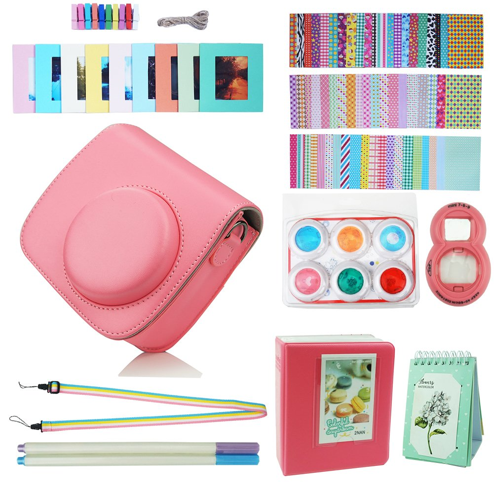 Blummy Instax Mini 9 Accessories Bundles for Fujifilm Instax Mini 8/Mini 8+/Mini 9 Instant Camera Including Camera Case/Book Album/Selfie Len/Wall Hanging Frames/Stickers/Strap/Pen (Flamingo Pink)
