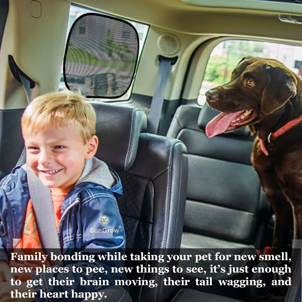 3 Car Sunscreen Shade for Dogs --- Covers and Protects Pets from Harmful UV Rays, Sunglare and Heat - Ideal for Side and Rear Windows - Premium Quality PVC