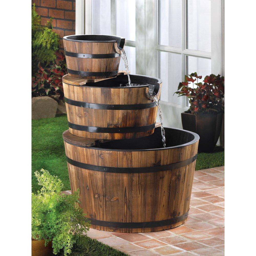 Amazon.com: Rustic Three Tier Apple Barrel Outdoor Water Fountain ...