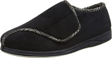 Padders CHRIS Mens Microsuede Warm lined Touch Close Wide Fit Slippers Black