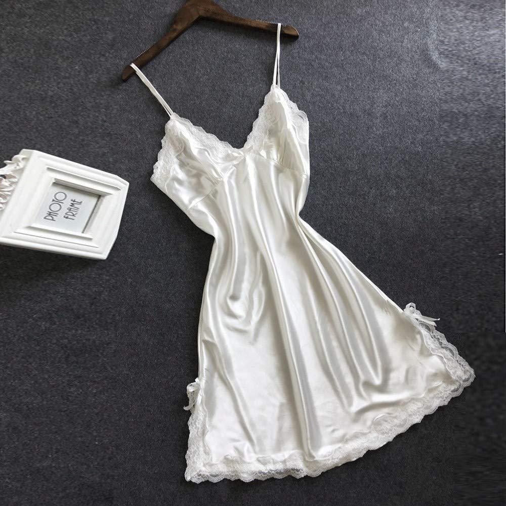 K-youth Lencería Erotica Mujer Sexy Vestido de Encaje de Seda de Mujer Babydoll Camisón Ropa de Dormir Batas Ropa Interior Vestidos Tirantes Halter Pijama ...
