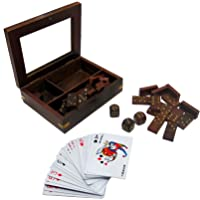 Wooden 3 in 1 Game Dominoes/5 Dice/Playing Cards in Wooden Box