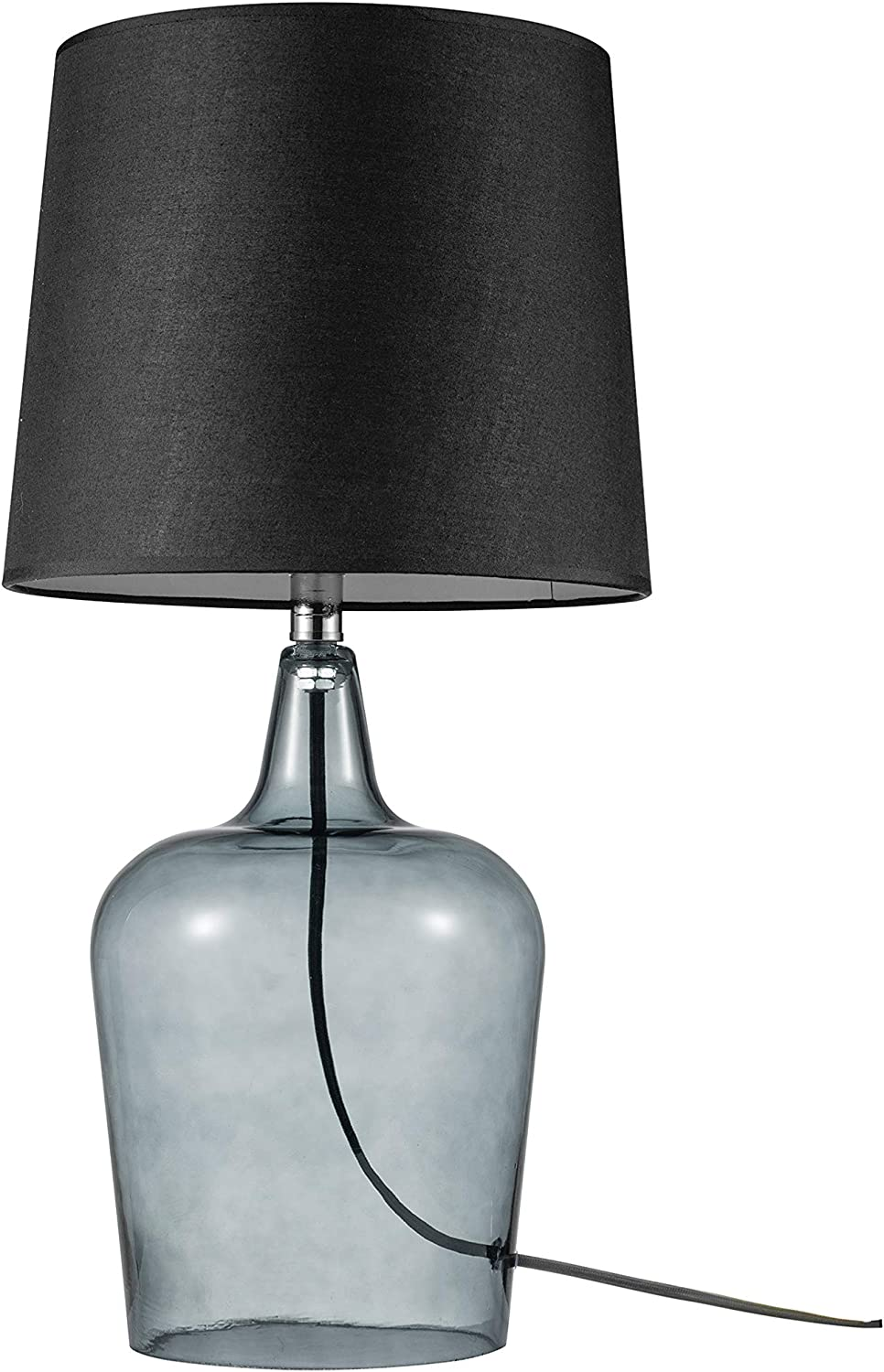 "Amazon Brand - Ravenna Home Single-Light Modern Table Lamp with Smoked Glass Base and Black Shade, LED Bulb Included, 24""H"