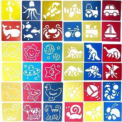 Smatoy 48Pcs Set Plantilla de Dibujo para Niños,12 Pcs Pluma de Color para Pintar, 36 Pcs Plantillas de Dibujos para Niños Aprenden a Dibujar de Forma (Plantillas de Dibujo): Juguetes y juegos