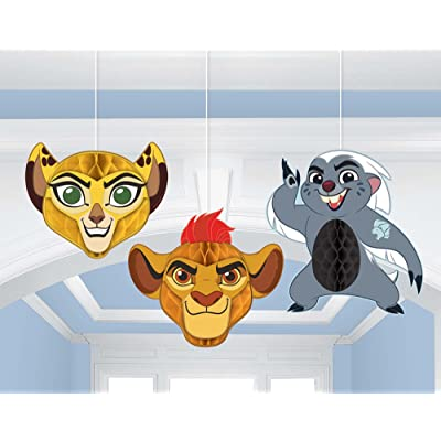 amscan Lion Guard Honeycomb Decorations 3 Count Birthday Party Supplies Lion King Hanging: Toys & Games