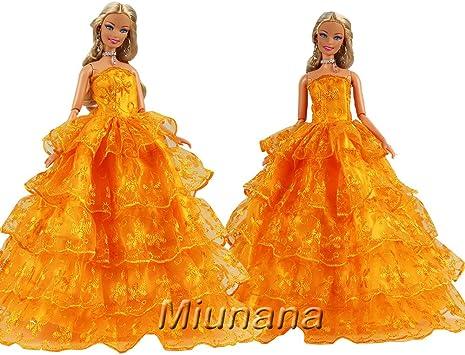 Arancione Miunana Abito Vestito Per Bambola Barbie Dolls