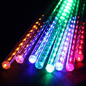 LDUSA Home Waterproof Meteor Shower Rain Lights - 30cm 8 Tubes 192LEDS Drop Icicle Snow Falling Raindrop Cascading Lights for Wedding Party Christmas,Multi-Color