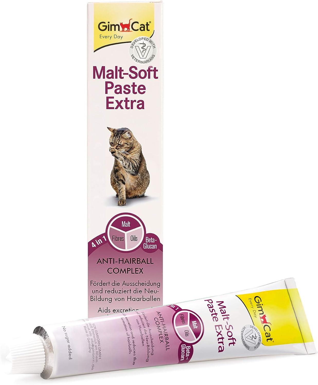 GimCat Malt-Soft Extra, pasta con malta- Anti-Hairball snack para gatos favorece la excreción de bolas de pelo (1 x 200 g)