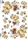 Carta di riso per decoupage - Fiori autunnali - Farfalle
