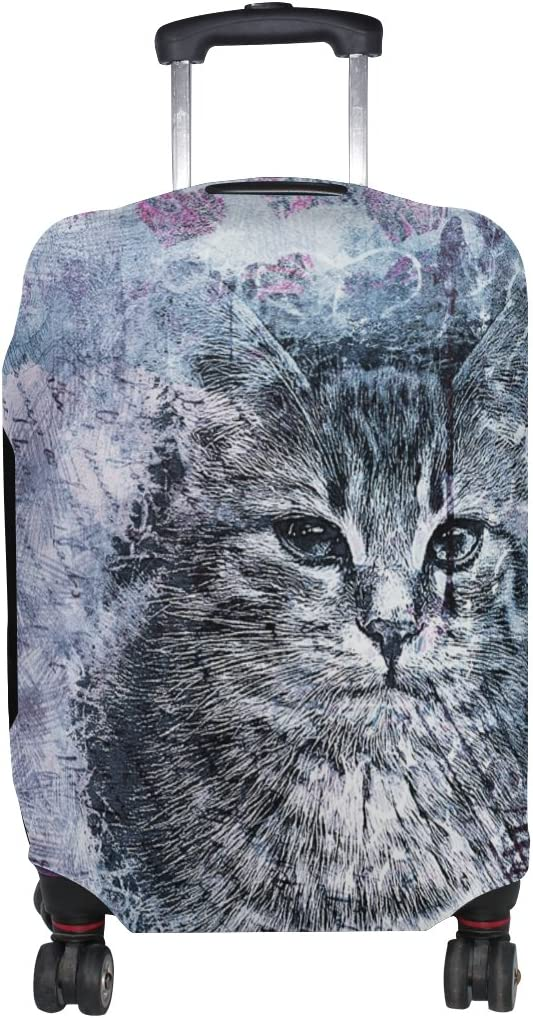 LEISISI Abstract Cat Luggage Cover Elastic Protector Fits XL 29-32 inch Suitcase