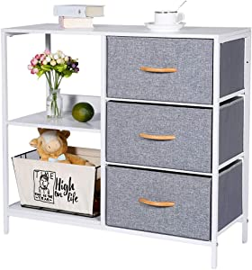 Kamiler Storage Dresser with 3 Drawers, File Cabinet with 2-Tier Shelves, Drawer Organizer Furniture for Bedroom,Office, Entryway, Sturdy Steel Frame, Wood Top