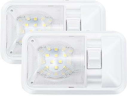 Kohree – Pack 2 12V LED 24SMD 5050 280LM Luz Interior Adorno de la Bóveda de Coche Lámpara Blanco del Techo para Autocaravana con Interruptor Aprobada ...