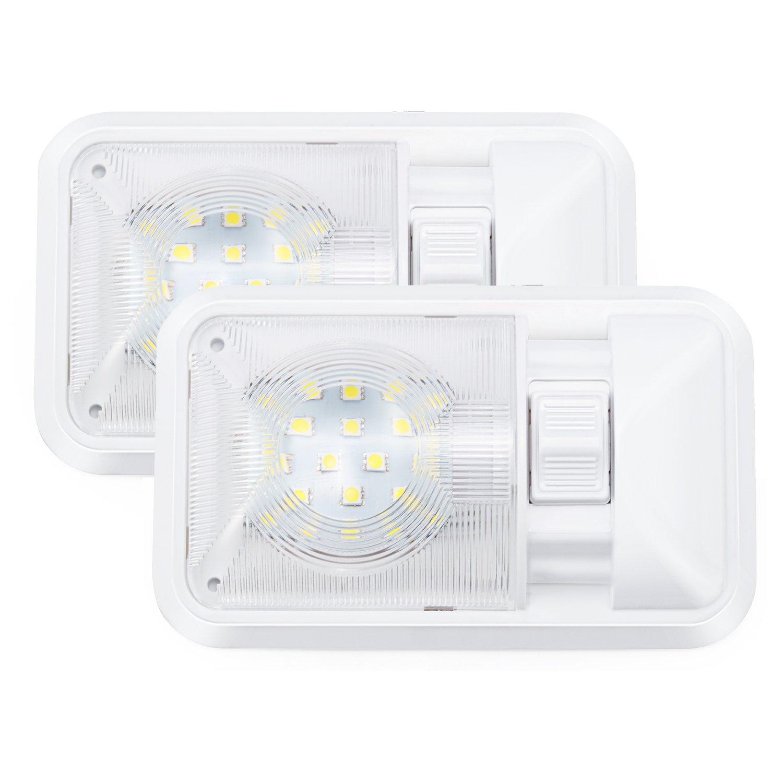 Kohree Set di 2 Lampade LED da 12V Plafoniere 280LM Tetttuccio Illuminazione interna per auto / RV / Rimorchio / camper / barca Luce Bianco naturale 280LM 24 x 5050 SMD