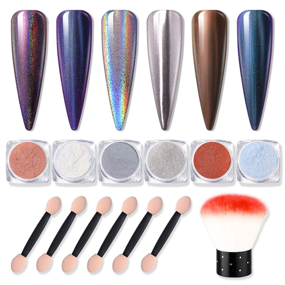 Modelones Chrome Nail Powder 6 Colors Manicure Mirror Effect Chameleon Holographic Laser Shimmer Nail Powder 0.8/0.5/0.2g 6 Pcs Eye Shadow Sticks with Red Nail Clean Brush. by modelones