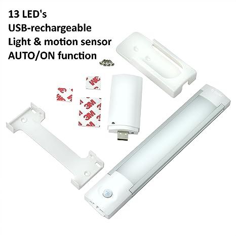 Gadgy ® Lampara Armario USB Recargable Sensor Movimiento | Magnético Barra Luz Noche 13 LED |