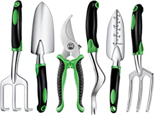 Binoteck Garden Tools Set-6 PCS Aluminum Alloy Lightweight Gardening Tools Kit with Ergonomic Rubberized Non-Slip Handle.Garden Gifts for Women,Men and Kids.