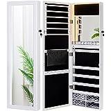 LUXFURNI Mirror Jewelry Cabinet 79 LED Lights Wall-Mount/ Door-Hanging Armoire, Lockable Storage Organizer w/ Drawers
