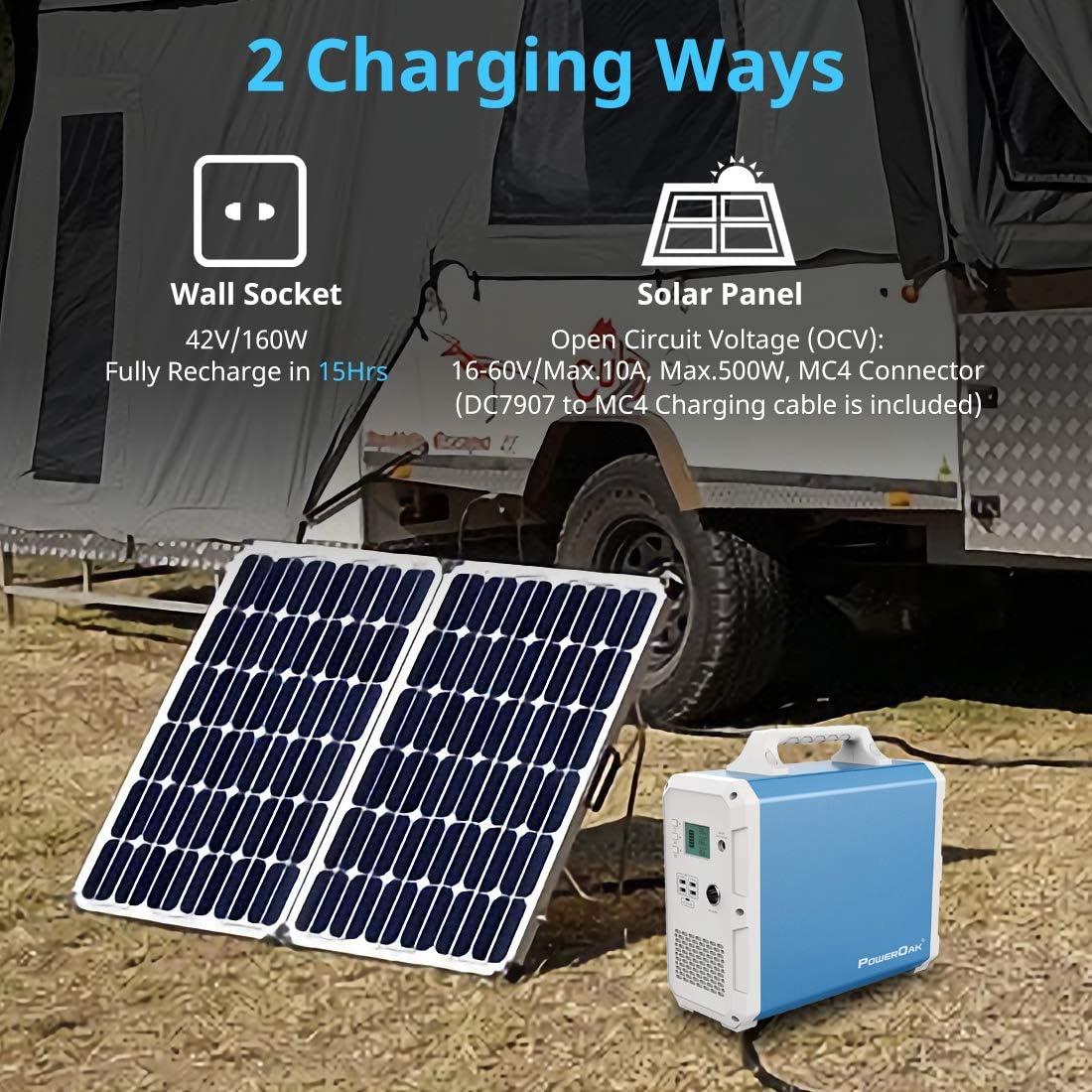 POWEROAK Leistungsstarkes 2400 Wh Solar-Kraftwerk Backup-Stromquelle Solargenerator Notbatterie-Backup Reine Sinuswelle 2AC-Steckdose Stromspeicher Stromspeicher f/ür Wohnmobile im Freien Camping