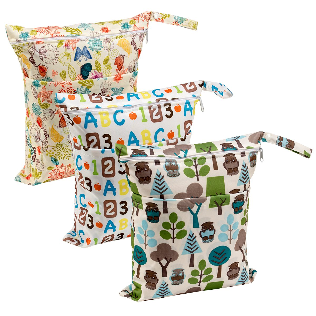 Biubee 3 Pack Wet Dry Cloth Diaper Bags - Baby Waterproof Washable Reusable Hanging Diaper Organizer (Pack of 3 New) by Biubee