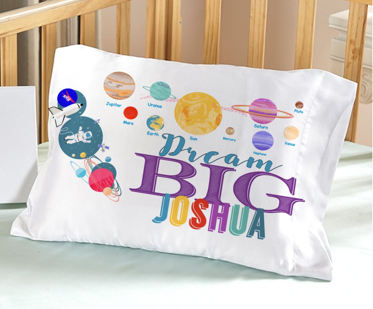Personalized Space Solar System (Toddler - Personalized) Dream Big Pillow Case - Christmas Birthday Gift idea for Boys Kids Astronaut Room Decor