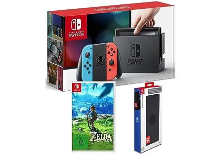 low priced 76cd0 9e9c7 Nintendo Switch Konsole Neon-Rot Neon-Blau + The Legend of Zelda  Breath of  the Wild + Nintendo Switch Premium Konsolen-Tasche  Amazon.de  Games