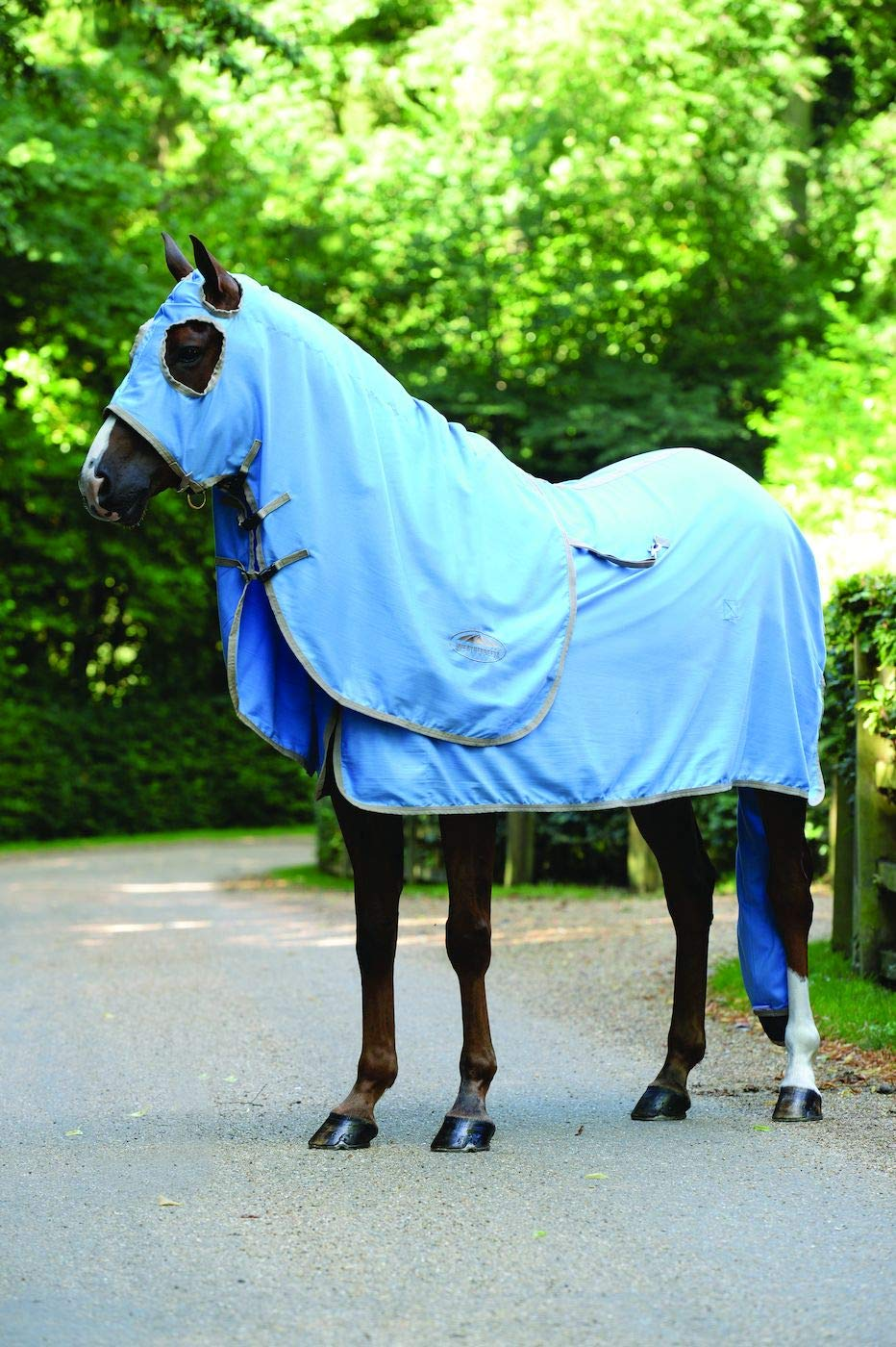 LIGHT blueE TAUPE Full LIGHT blueE TAUPE Full WEATHERBEETA Cotton Show Hood Light bluee Taupe Full Horse Rug