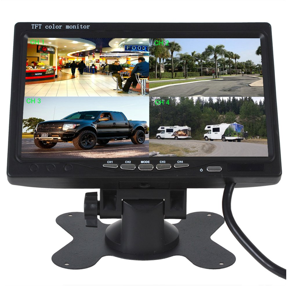Camecho 7 inch Split Quad Monitor 4 Channel Video Input Full HD Color Image For Car Backup Camera System & Home Surveillance Security CM00-L0209