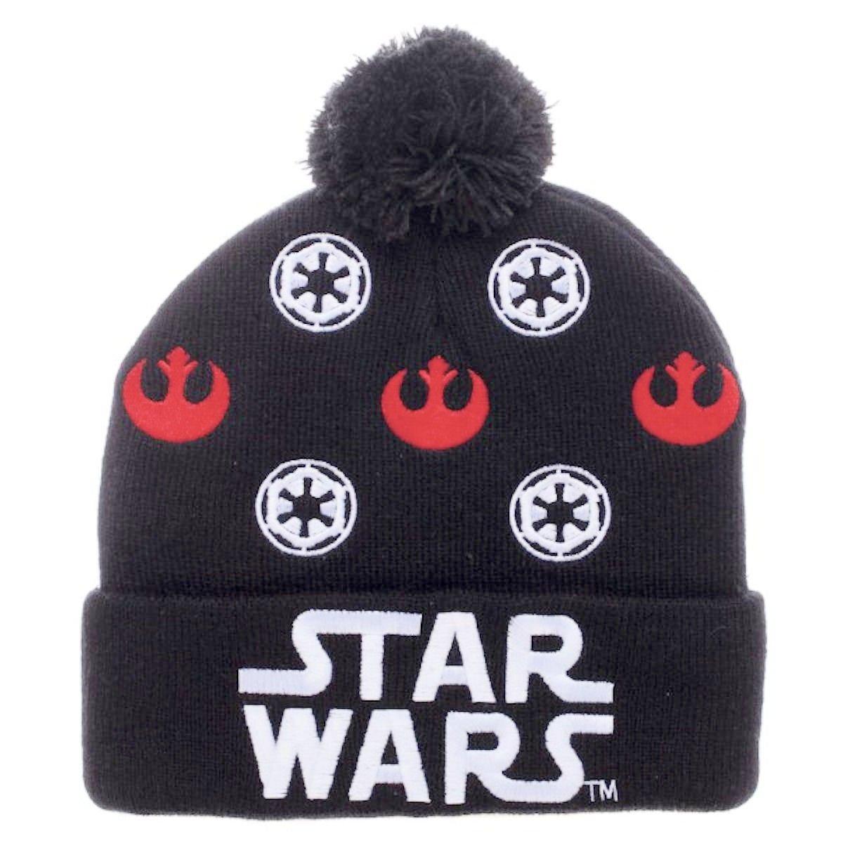 Star Wars Logo Rebel Alliance/Galactic Empire Cuff Pom Beanie Bioworld KC4GKQSTW