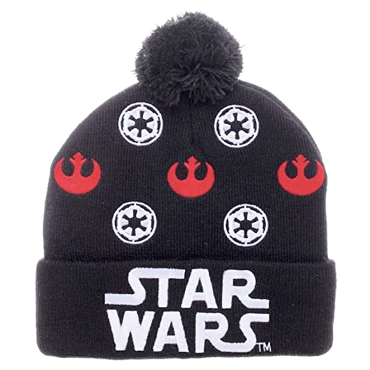 8480ef1d3fd Image Unavailable. Image not available for. Color  Star Wars Logo Rebel  Alliance   Galactic Empire Cuff Pom Beanie