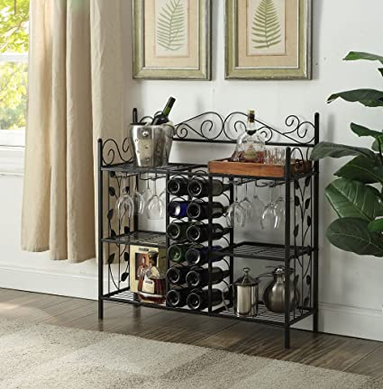 Amazoncom Black Metal Six 6 Shelf Kitchen Bakers Rack Console