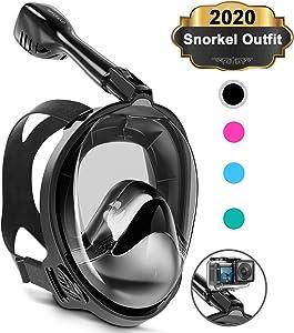 Keystand Full Face Snorkel Mask, Upgraded Breathing Mechanism Snorkeling Masks, Flat Crystal Lens, 180° Panoramic Anti-Leak/Fog Kids Adults Diving Snorkle Mask Gear with Detachable Camera Mount