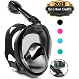 Keystand Full Face Snorkel Mask, Upgraded Breathing Mechanism Snorkeling Masks, Flat Crystal Lens, 180° Panoramic Anti-Leak/Fog Kids Adults Diving Snorkle Mask Gear with Detachable Camera Mount