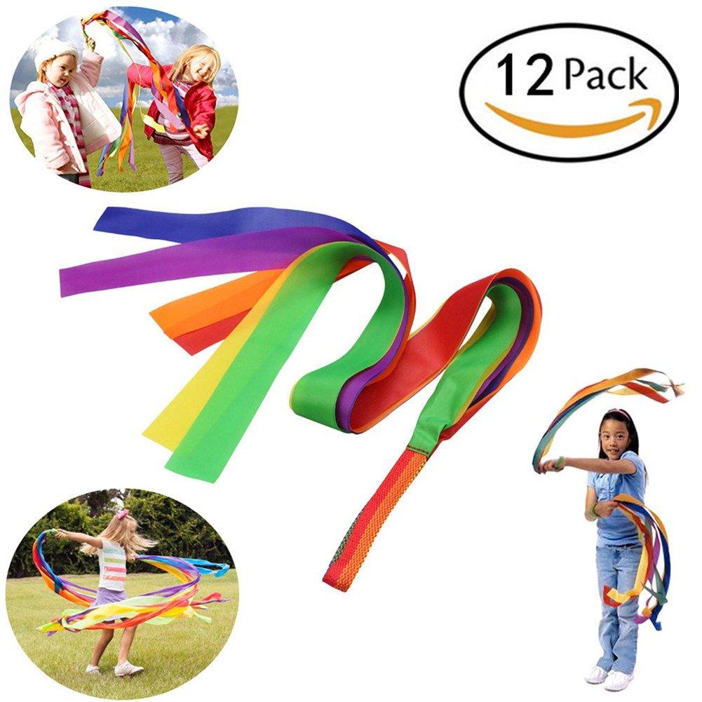 Rainbow Dance Ribbons,12 Pcs Bright Rhythm Dance Ribbon,1M Gymnastic Dance Streamers Fit Kids Adults Dancer