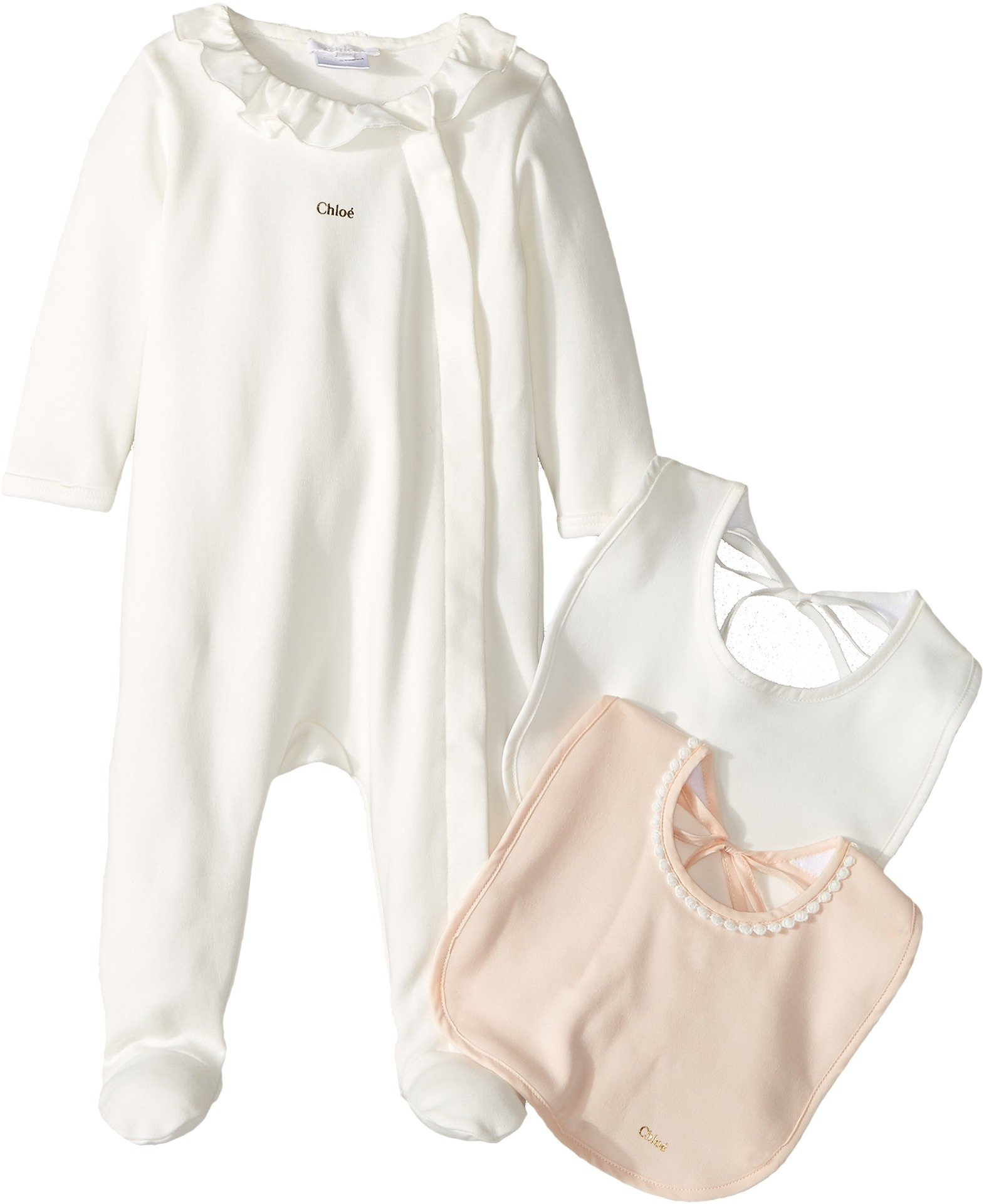 Chloe Kids Baby Girl's Gift Box - Essential Long Sleeve Bodysuit w/ 2 Bibs (Infant) Off-White Jumpsuit
