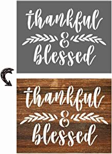vizuzi Thankful Blessed Sign Stencils - Home Decor Rustic Farmhouse Inspirational Template for Painting Spraying Wood Floors Furniture Paper Window Glass Door Wall Sign Crafts