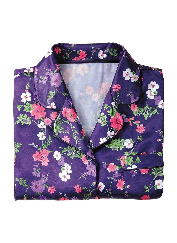 Brushed Back Satin Pajamas at Amazon Womens Clothing store Nightgowns