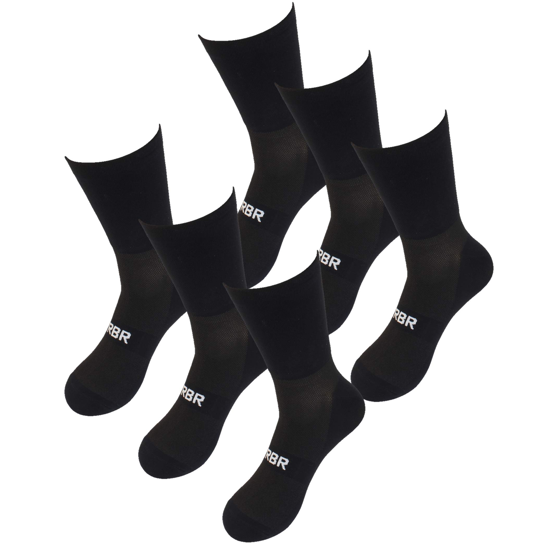 RBR Cycling Running Sports Socks Men Size 9-12 High Visibility Fluoresent 3 Pack (black) by Road Bike Rider