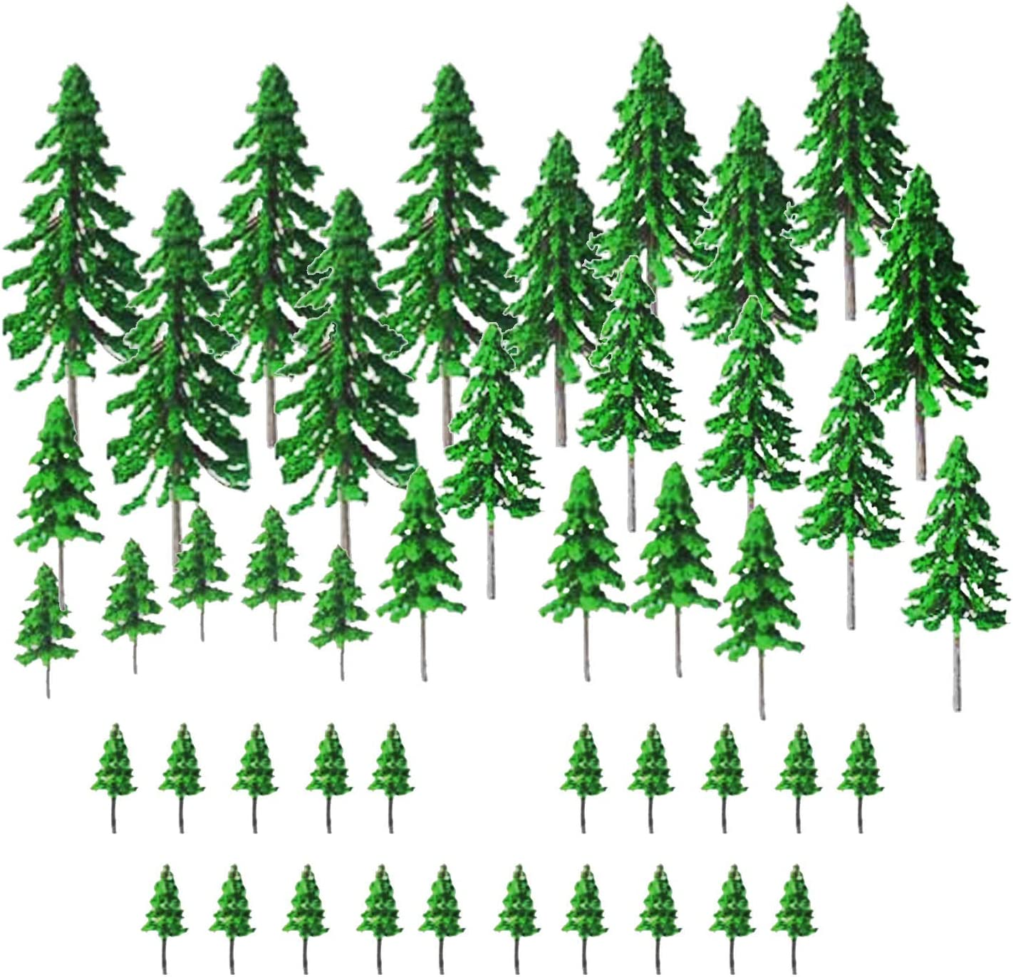 Woohome 45 PCS Model Tree Miniature Train Scenery Plastic Trees for Projects, Woodland Scenics DIY Crafts Landscape Building Office Home Sand Table Decor, 2 Inch ~ 5.9 Inch