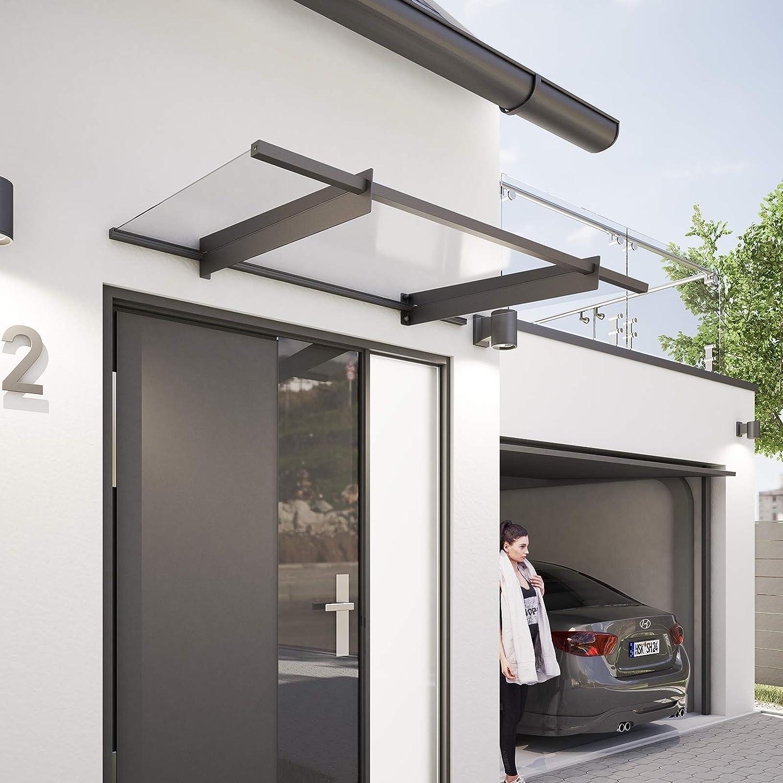 Relaxdays Auvent avant-toit porte transparent en plastique Marquise porte dentr/ée HxlxP 23,5 x 105 x 75 cm gris