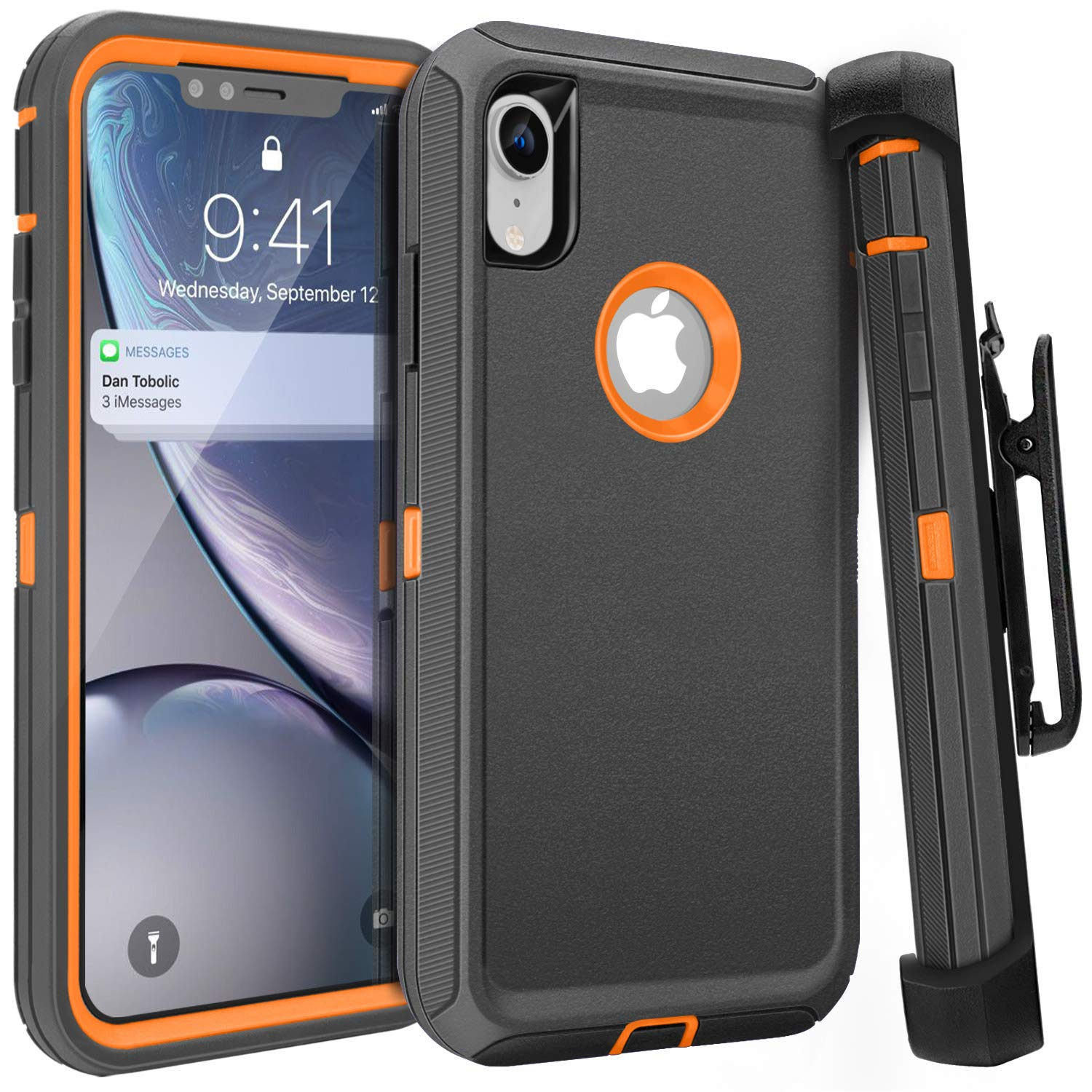 FOGEEK iPhone XR Case, Belt Clip Holster Heavy Duty Kickstand Protective Cover [Dust-Proof] [Shockproof] Compatible for Apple iPhone XR [6.1 inch] (Dark Grey/Orange) by FOGEEK