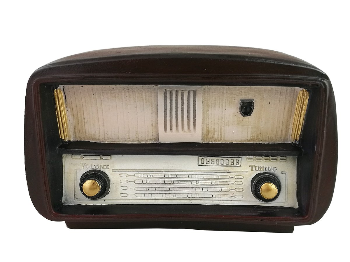 Winterworm Antique Old-fashioned Resin Brown Vintage Radio Model Home Decorative Display Ornament Bedroom Decor Christmas Birthday Festival Gifts (Small-19825)