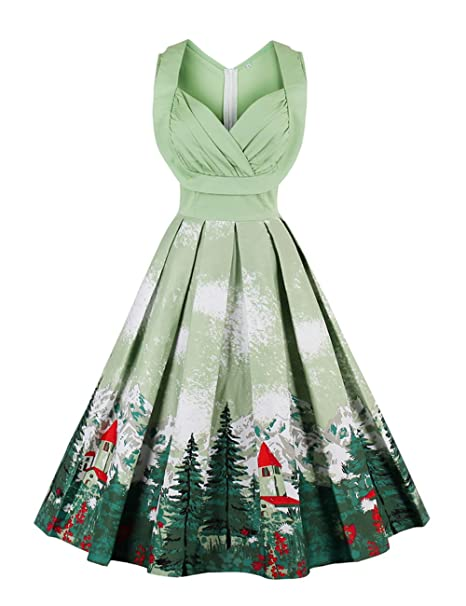37be5ebe6bdf Mulanbridal Women s Retro Floral 50s Vintage Style Cap Sleeve Casual  Cocktail Party Swing Dress Green 3XL