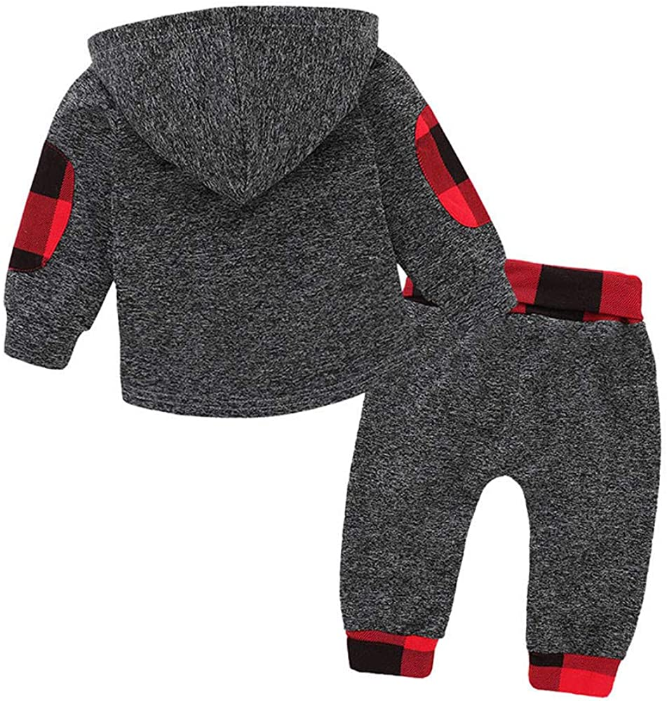 Kword 2 Pezzi Bambino Set Baby Bambini Bambino Autunno Inverno Manica Lunga Felpa Plaid Patchwork Cime Lungo Cotone Strappato Pantaloni Lunghi