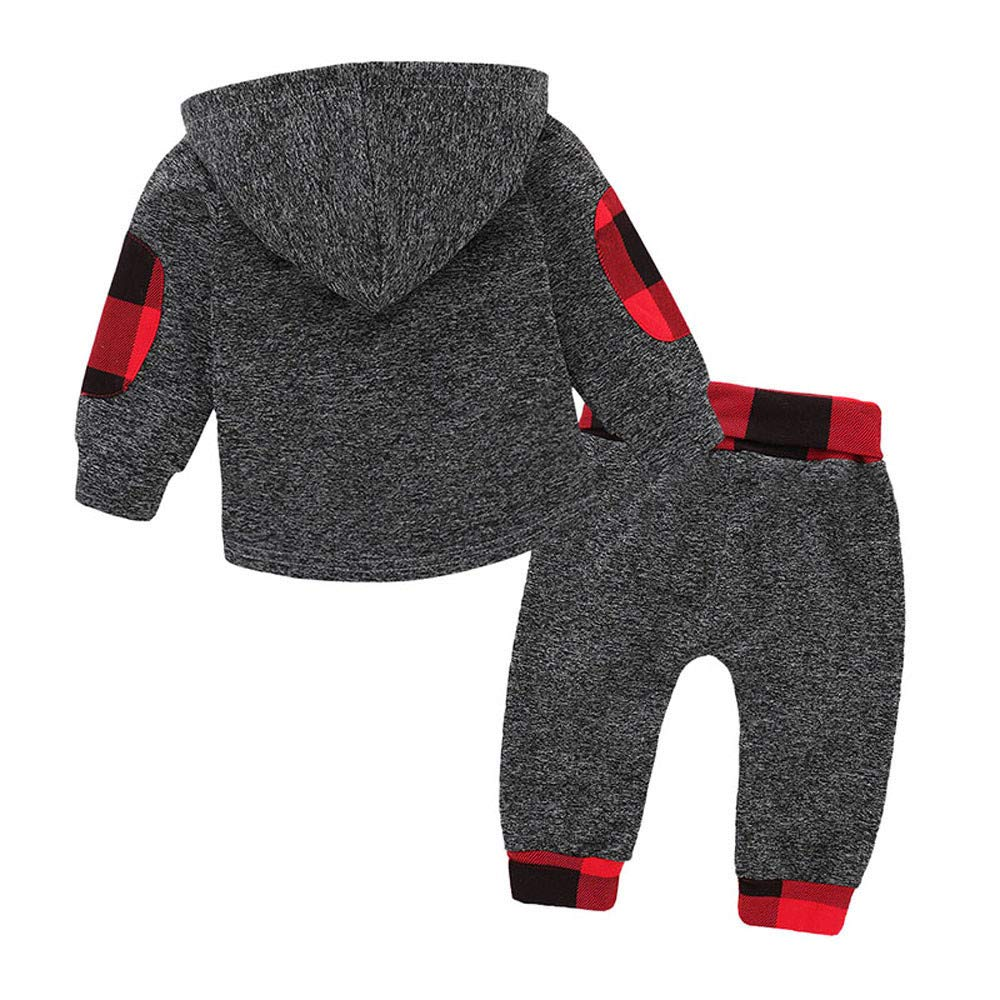 3 a/ños Ni/ño Cuadros Sudadera con Capucha Pantalones Conjunto de Ropa Oto/ño e Invierno Fossen 6 Meses