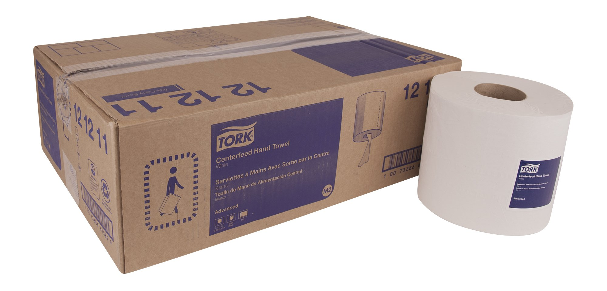 Tork Advanced 121211 Soft Centerfeed Hand Towel, 2-Ply, 7.1'' Width x 11.8'' Length, White (Case of 6 Rolls, 600 per Roll, 3,600 Towels) for use with Tork 559020A Or 559028A