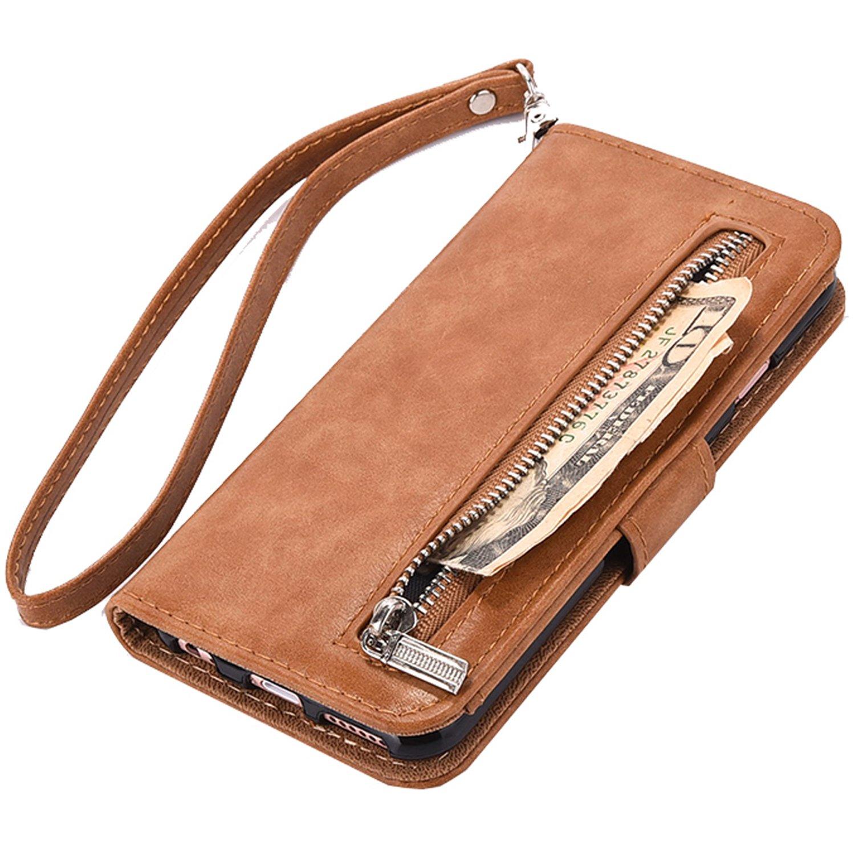 iPhone 7 Plus 8 Plus Wallet Case, WOOZU Hidden iphone7/8 Plus Wallet Case [Folio][Flip][Wrist Strap] Stand Feature Card Holder for Apple iPhone 7/8 Plus 5.5''inch,Zipper Cash Purse Slot Pocket