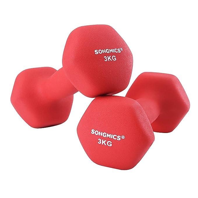 SONGMICS SYL66RD - Juego de 2 Mancuernas para Mujer, 2 x 3,0 kg ...