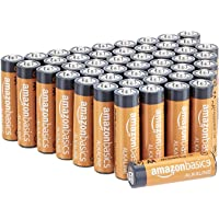 AmazonBasics 48 Pack AA High-Performance Alkaline Batteries, 10-Year Shelf Life,...